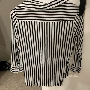 Tops - White and black striped blouse